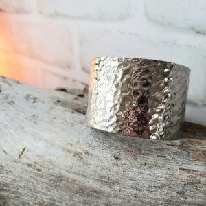 Silver hammered adjustable cuff bracelet